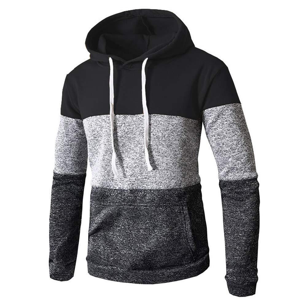 WOCACHI Mens Hoodies Patchwork Hooded Outerwear Slim Fit Pullover Sweatshirt WOCACHI-180904