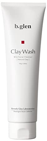 b.glen Clay Wash – Non-Foaming Face Wash for Men Women from Japan with Hyaluronic Acid Bentonite Clay Helps for Dry Skin, Acne, Blackhead, Clogged Pores Get Smooth, Moisturized Skin