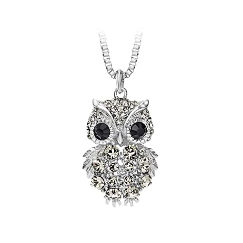 Glamorousky Owl Pendant with Black Crystal and 72cm Necklace 7361