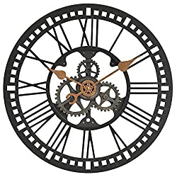 FirsTime 24 in. Round Roman Gear Wall Clock