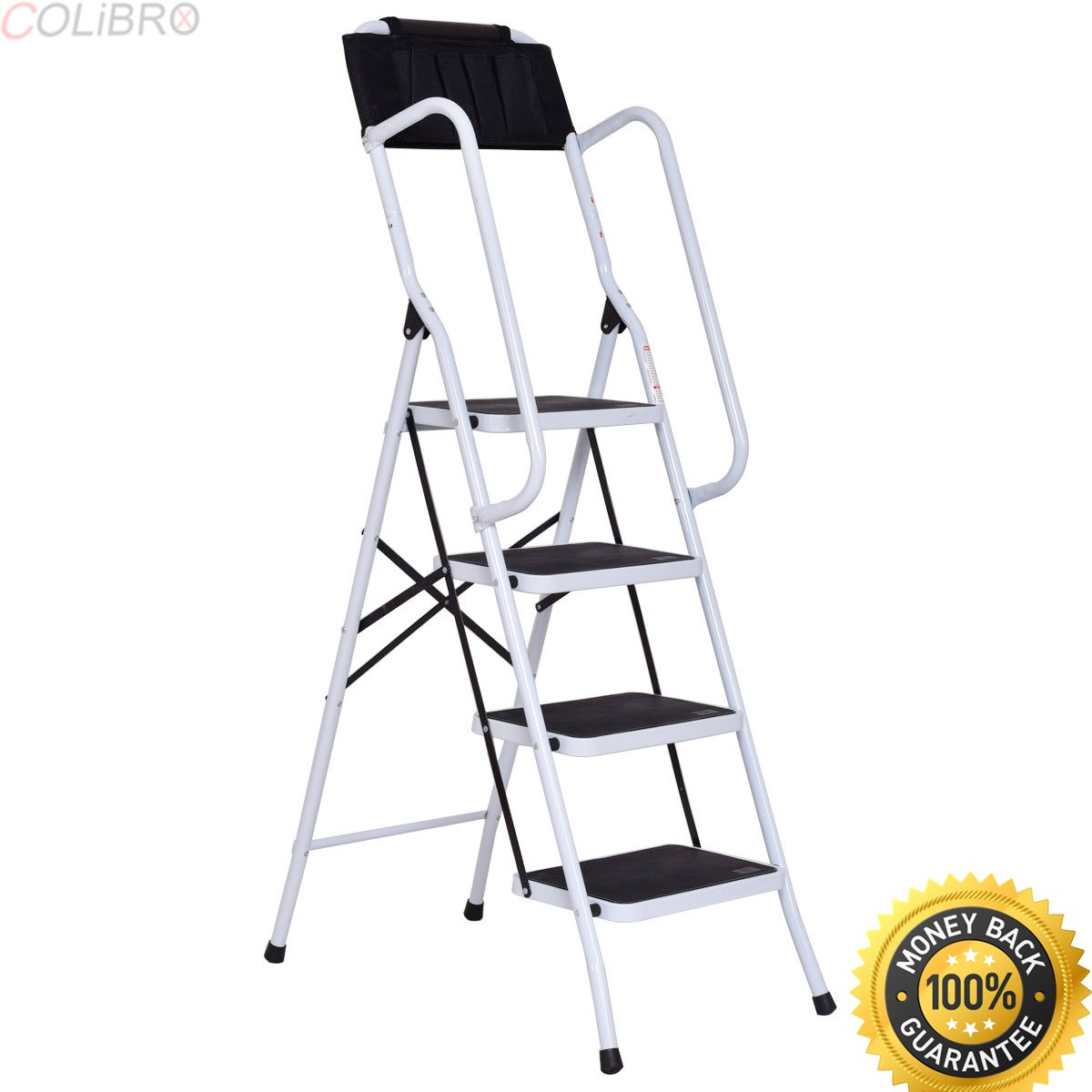 COLIBROX--2 In 1 Non-slip 4 Step Ladder Folding Stool w/ Handrails and Tool Pouch Caddy. 4-platform step ladder with safety support rails. easylife steel safety four step ladder with support rails.