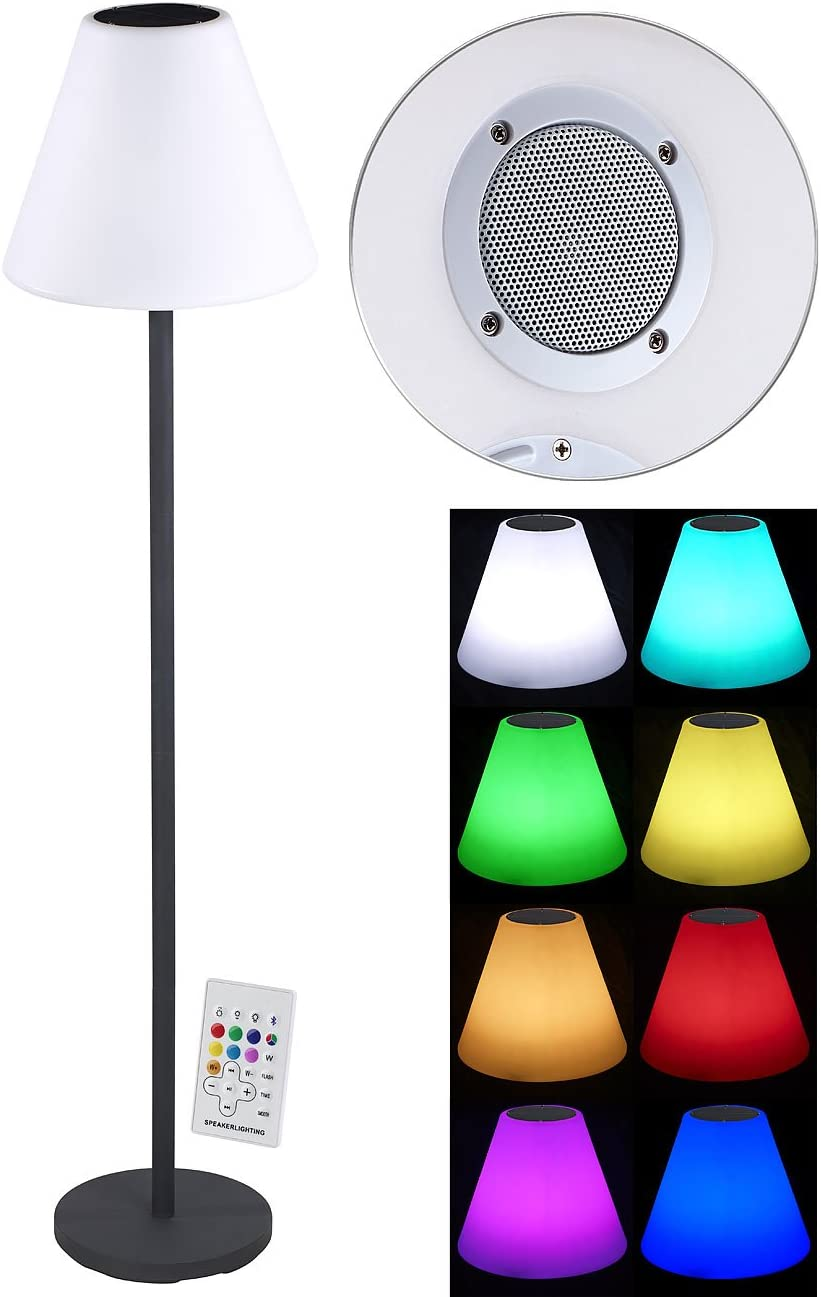 Lunartec Solar Stehlampe Solar Led Stehleuchte Lautsprecher