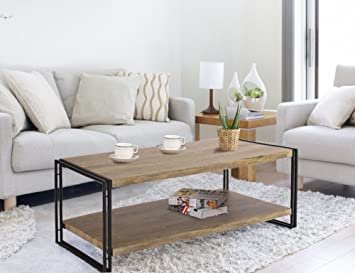 FIVEGIVEN Coffee Table for Living Room Rustic Industrial Coffee Table with  Storage, Wood and Metal