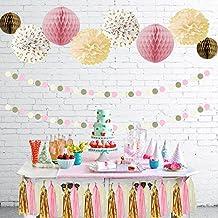 TheCraftyShop™ Pink Cream Glitter Gold Tissue Paper Pom Pom Tissue Paper Honeycomb Tassel Garland Polka Dot Poms Paper Garland for Baby Shower Decoration Bridal Shower Pink Gold First Birthday