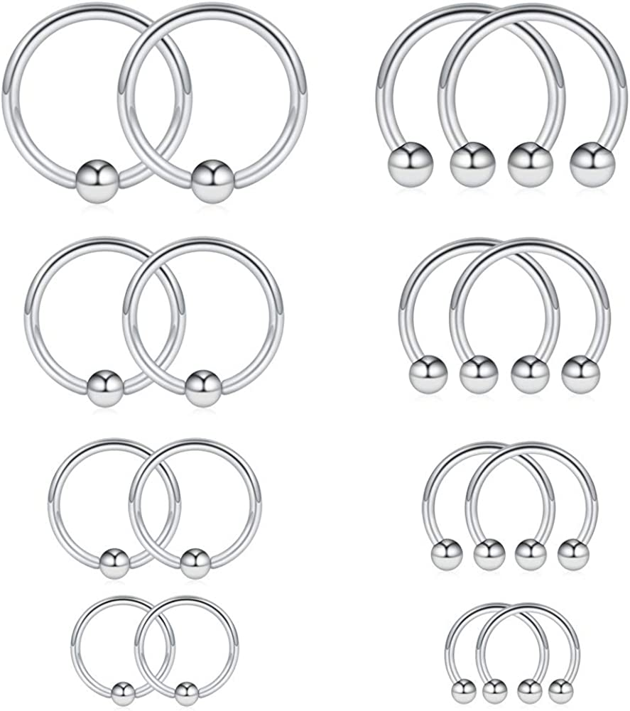 Ruifan 16-24PCS 16G Surgical Steel Horseshoe & Captive Bead Nose Hoop Septum Earring Eyebrow Tongue Lip Nipple Helix Tragus Piercing Jewelry Rings 6-16mm