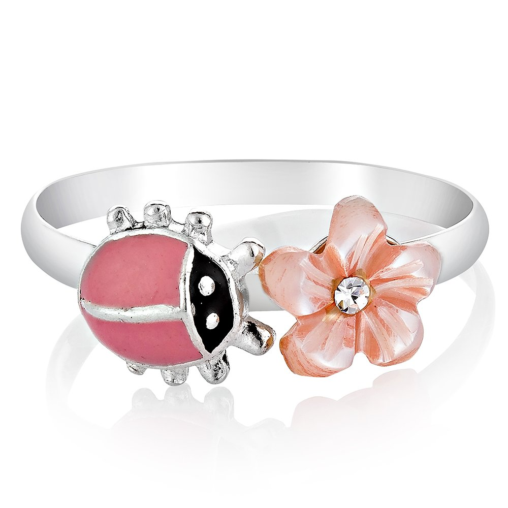 925 Sterling Silver Pink Little Lucky Ladybug with CZ Mother of Pearl Flower Band Ring Size 6