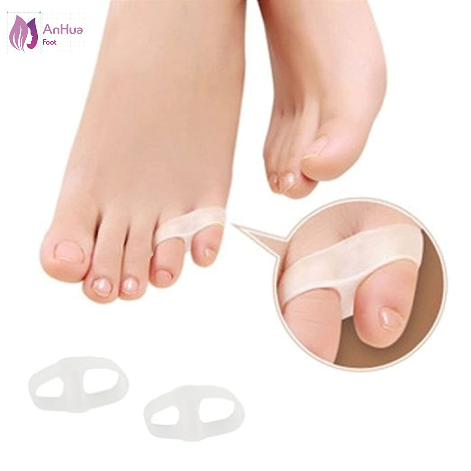 AnHuaUnisex Small Toe Soft Silicone 2 Holes Orthotics Bunion Tail Toe Straightener Separator Shield Protector Spreader Corrector Adjuster Foot Pain Relief by Healtheveryday GH35