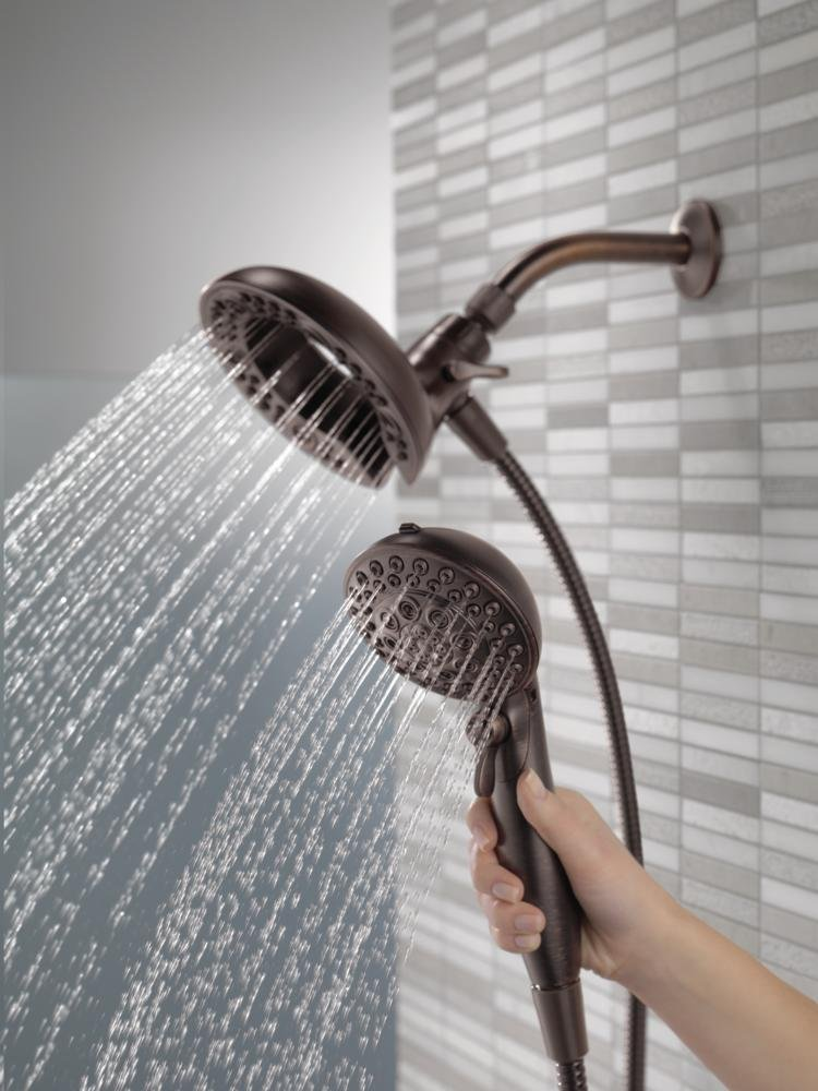 Delta 75588RB In2ition 2.5 GPM Dual Hand Held Rain Shower Heads 2-In-1 Combo With Holder and 72 Inch Hose, Venetian Bronze Finish by DELTA FAUCET