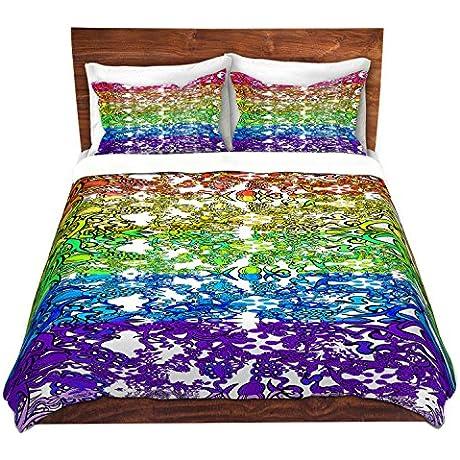 DiaNoche Designs Rainbow Ribbons Home Decor Cover 8 King Duvet Sham Set