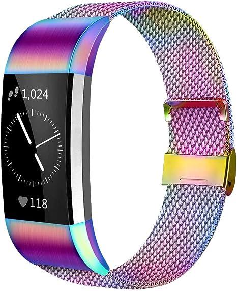 Image of AK Correa Compatible para Fitbit Charge 2 Correa Deportiva de Metal Ajustable, Pulsera de Correa Milanesa de Acero Inoxidable para Mujer y Hombre