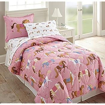Amazon.com: 5pc Girl Pink Purple Horse Pony Twin Comforter ...