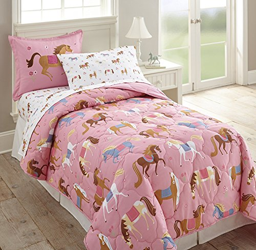 Girls Pink Western Pony Horse TWIN Size Comforter, Embroidered Pillow Sham and Sheet Set (Kids Western Decor)