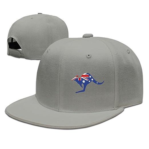 Custom Unisex Ash Adjustable Fashion Australian Kangaroo Flag Snapback Flat  Caps One Size eb8602e59b4