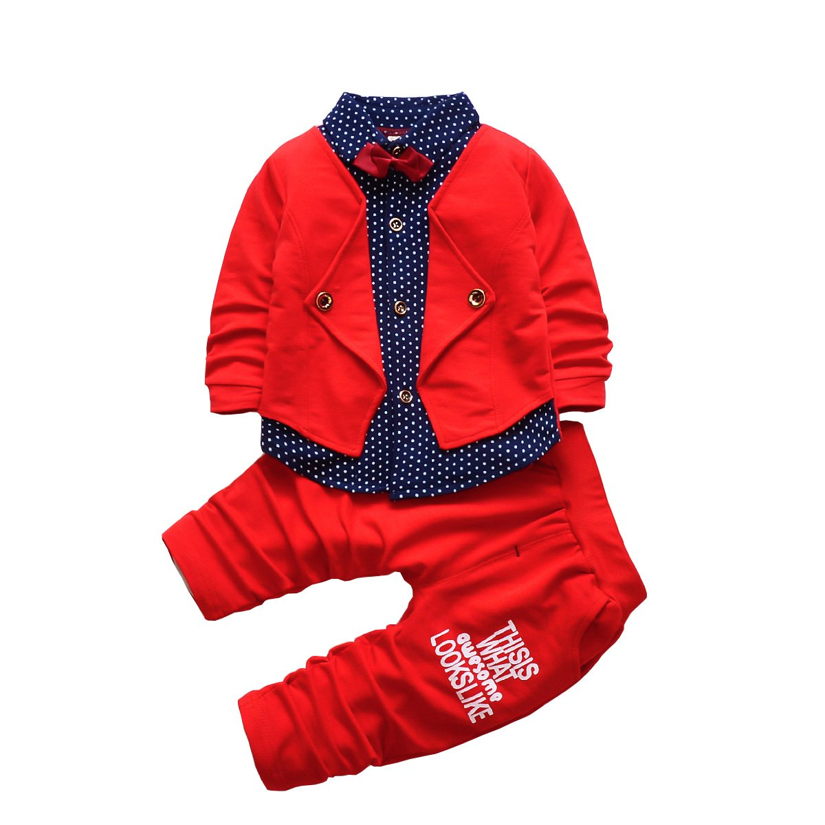 HZXVic 2pcs Baby Boy Dress Clothes Toddler Outfits Infant Tuxedo Formal Suits Set Shirt + Pants(Red, 4T)