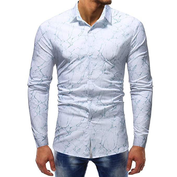 Bestow Hombre Moda Blusa Estampada Casual Manga Larga Camisas Delgadas Tops Imprimir Top Invierno(Blanco