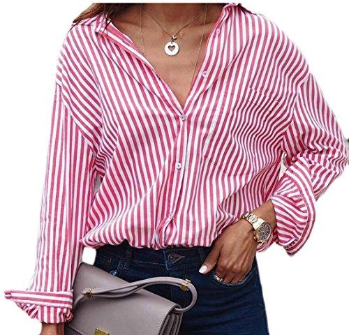 Oversize Pin (ZXFHZS Women's Loose Oversized Pinstripe Button Front Shirt Blouse Pink L)