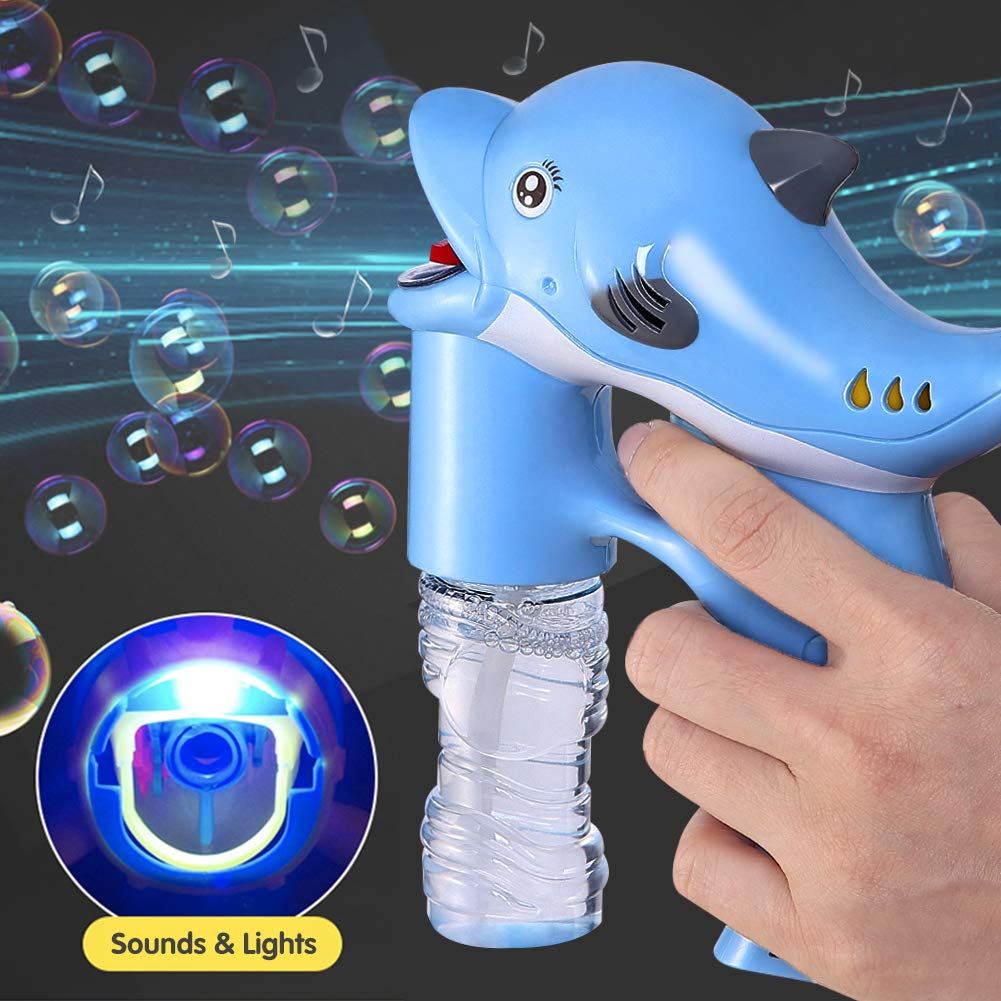 Lovelion Dolphin Bubble Gun Blower with LED Light with Music Suitable for Girls and Boys Over 1.2.3 Years Oldc by Lovelion (Image #2)