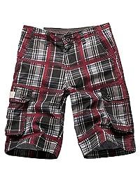 i-Summer Men's Plaid Patchwork Cotton Shorts Pants