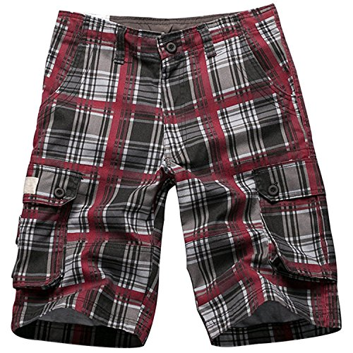 i-Summer Men's Plaid Patchwork Cotton Shorts Pants Wine Red 29 (Shorts Patchwork Red)