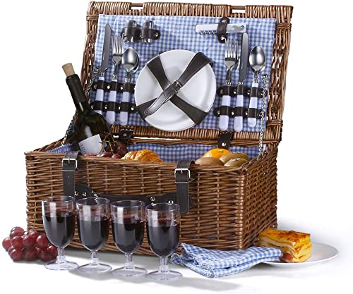 Flexzion Picnic Basket Set for 4 Person Rectangular Tote Hamper Kit – Insulated Waterproof Wicker Picnic Blanket w Plate Metal Flatware Table Supplies Wine Glasses Bottle Opener Blue Gingham Lining