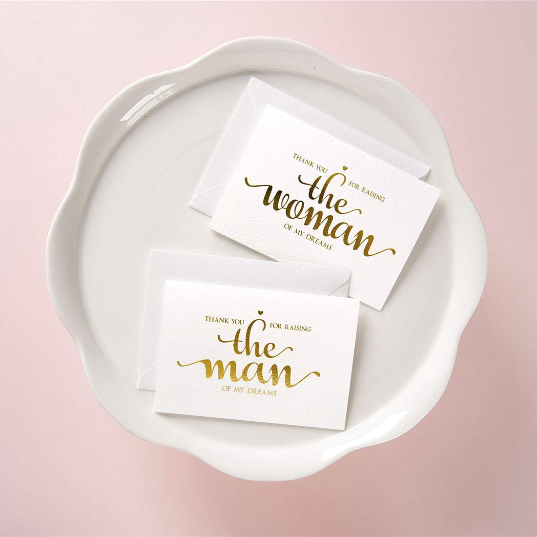 Gold Foil Wedding Day Cards Set to Your in Laws from Bride and Groom MAGJUCHE Thank You for Raising The Man The Women of My Dreams