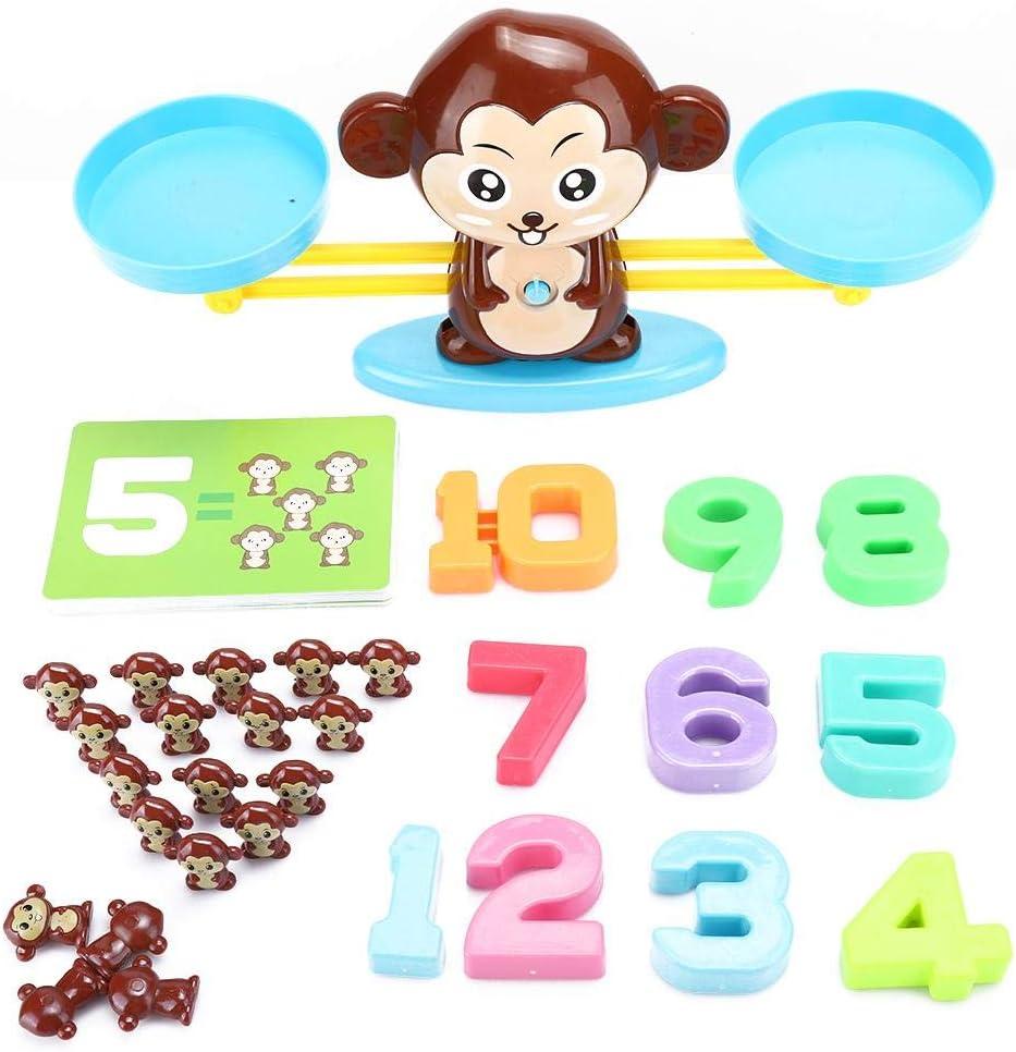 Zerodis Balance Scale Toy Juego de Mesa Digital Juego de iluminación Balance Scale Monkey Toy Niños Regalo Educativo(Balanza)