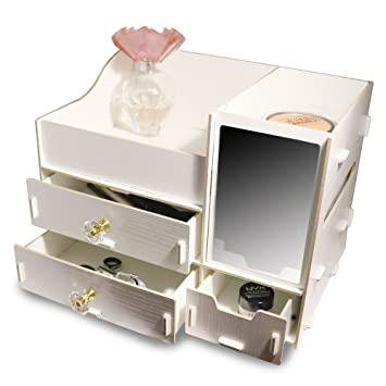 d983170cf866 Fashion DIY Wooden Makeup Storage Display Box 3 Drawers Jewelry Cosmetics  Storage Organizer with Mirror (White)