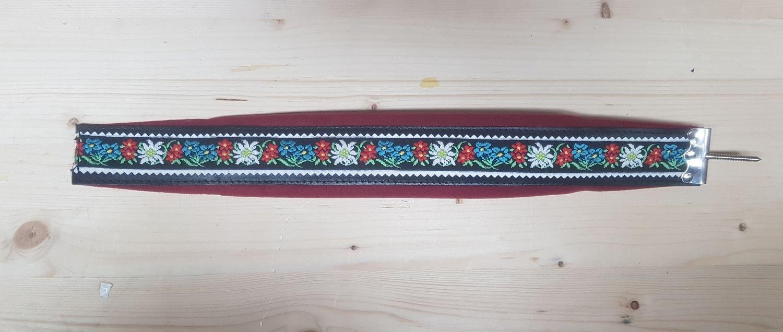 Steirische Harmonika Bassriemen Edelweiss rot mit Verstellerspindel VMS