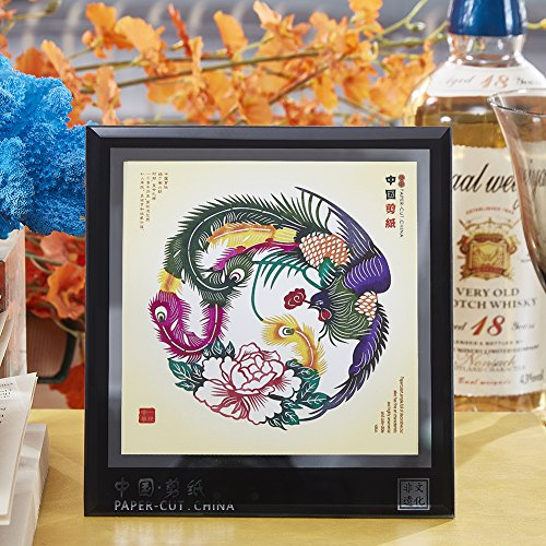 Chinese Paper Cutting Art, Displays Chinese Style of Decorative Ornaments for Crafts, Tourist Souvenirs Small Gift,6 x 5.5 Inches, (Phoenix & Peony)