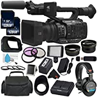 Panasonic AG-UX180 AG-UX180PJ 4K Premium Professional Camcorder + 128GB SDXC Class 10 Memory Card + Carrying Case + Professional 160 LED Video Light Studio Series + Sony MDR-7506 Headphone Bundle