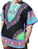 RaanPahMuang Brand Unisex Bright Black Cotton Africa Dashiki Shirt Plain Front, X-Small, Black Multicoloured Blue