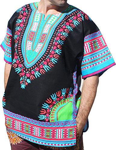 RaanPahMuang Brand Unisex Bright Black Cotton Africa Dashiki Shirt Plain Front, Medium, Black Multicoloured Blue by RaanPahMuang