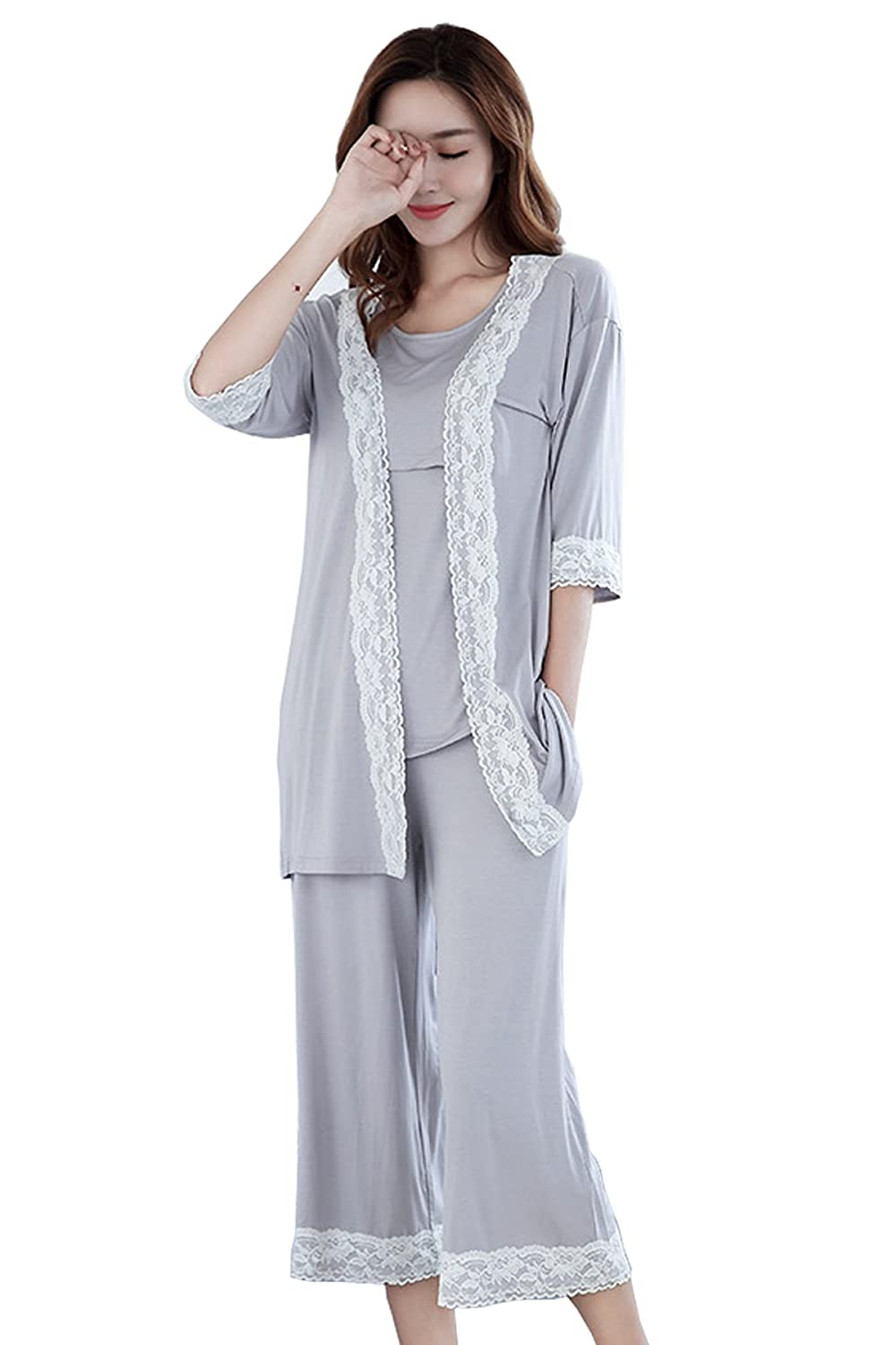 05bbe47e164e2 Epinmammy Womens 3 Piece Maternity and Nursing Pajama Set Lace Details  Featuring Nursing Top Pants and ...