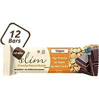 NuGo Slim Dark Chocolate Crunchy Peanut Butter, 16g Vegan Protein, 3g Sugar, 7g Fiber, 180 Calories, Low Net Carbs, Gluten Free, 12 Count