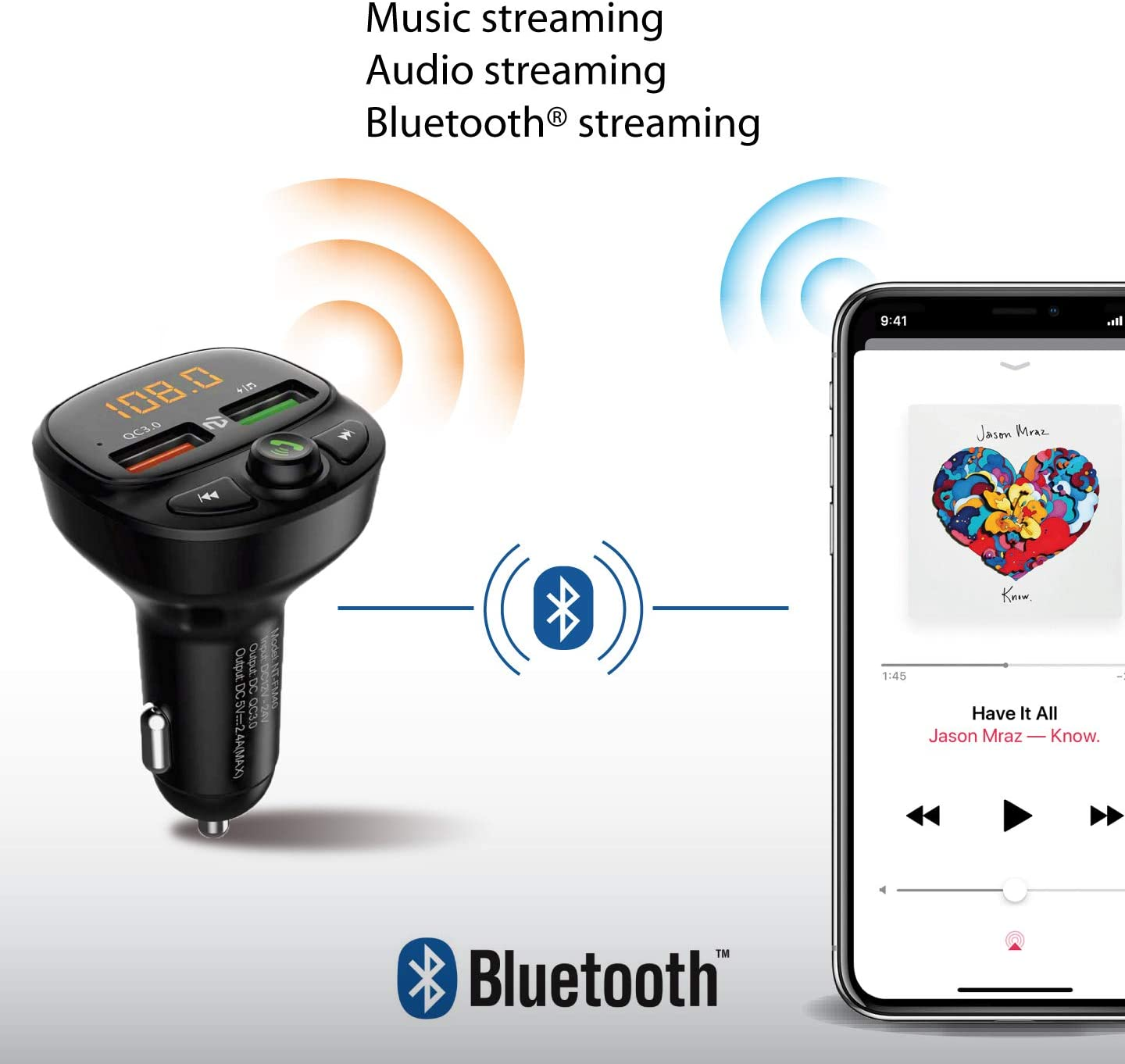 NT North Tech Bluetooth FM Transmitter for Car Black NT-FM40 Supports USB Flash Drive QC3.0 Car Radio Bluetooth Adapter Music Player Hands Free Car Kit with SD Card Slot