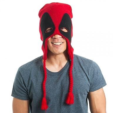 70ec1f19c5a Amazon.com  Adult Size Marvel Deadpool Mask Laplander - Beanie Hat - Anti  Hero  Clothing