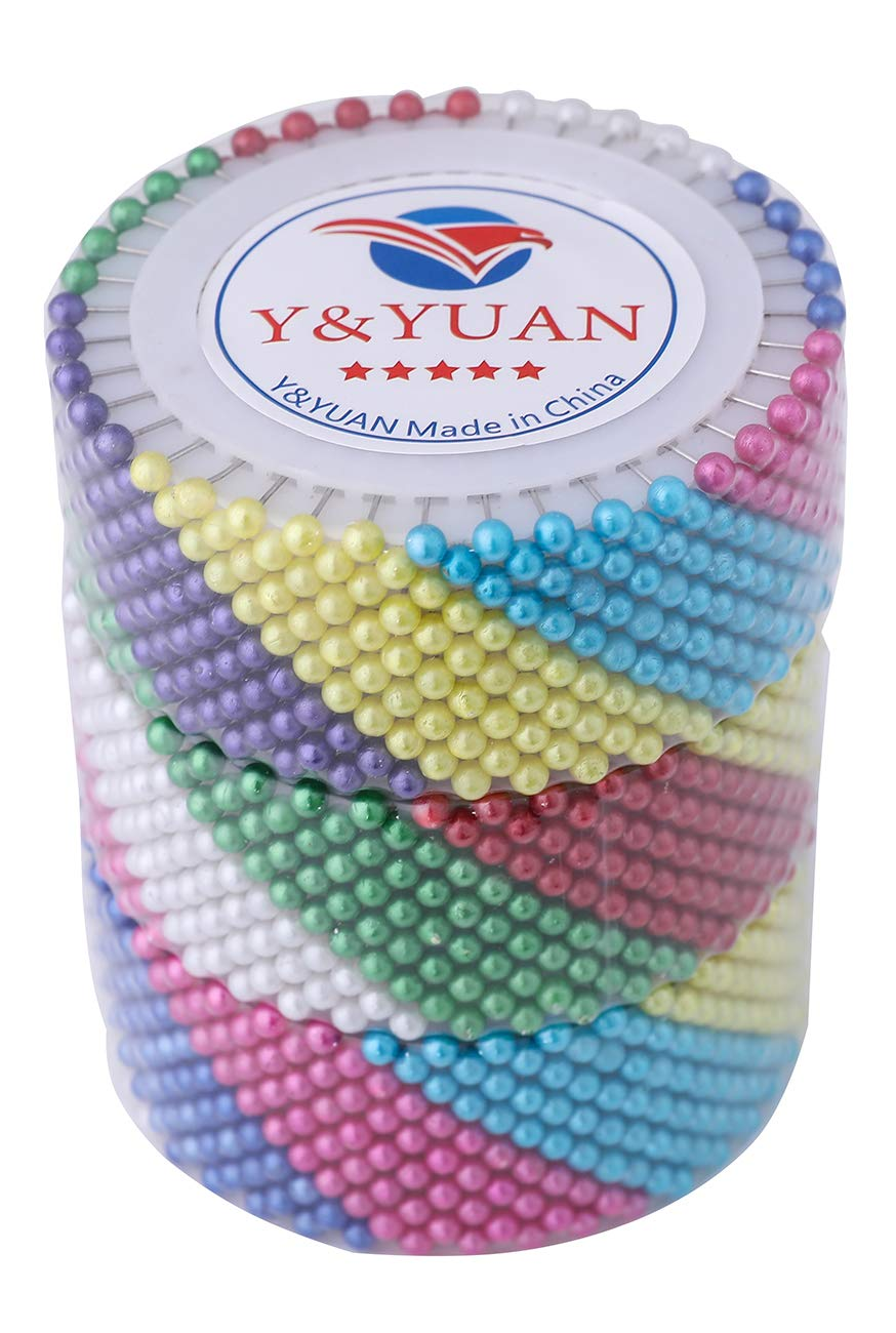 Y&YUAN 1.5 Inch Color Dressmaker Pins with Pearlized Ball Head for Sewing and Quilting (1440 Pieces) by Y&YUAN