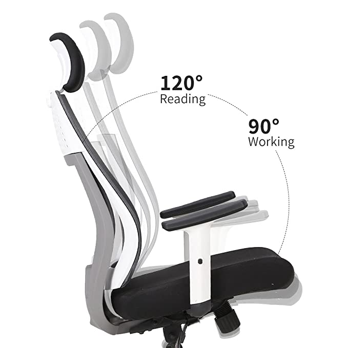Amazon.com: Hbada Ergonomic Office Chair, High Back Adjustable Mesh Computer Desk Chair-White: Kitchen & Dining