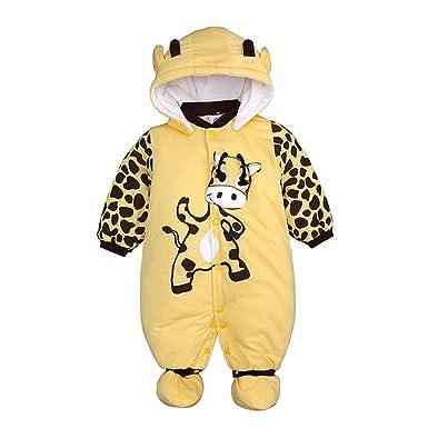 YanHoo Ropa para niños Bebé de Manga Larga de Dibujos Animados de Animales de algodón Grueso Almohadilla Caliente con Capucha del pie del Mono Mameluco ...
