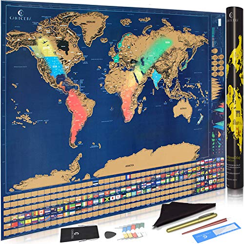 Gift For Travelers Scratch Off Map of The World with US States and Country Flags Adventures Tracker Travelers Map Included Flag Pins Scratching Tools - 32