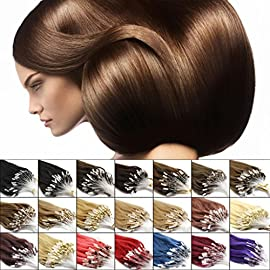 "haibis 16""-26""Straight Micro Loop Remy Human Hair Extensions with Silicone Ring Bead Ombre Mixed Colors 100s(16""0.4g/s,#08 Chesnut Brown)"
