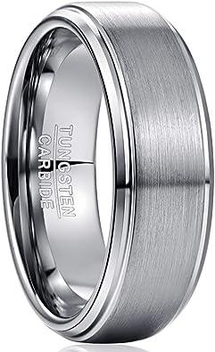 8mm Black Tungsten Carbide Brushed Finished Shiny Step Edge Wedding Band Ring
