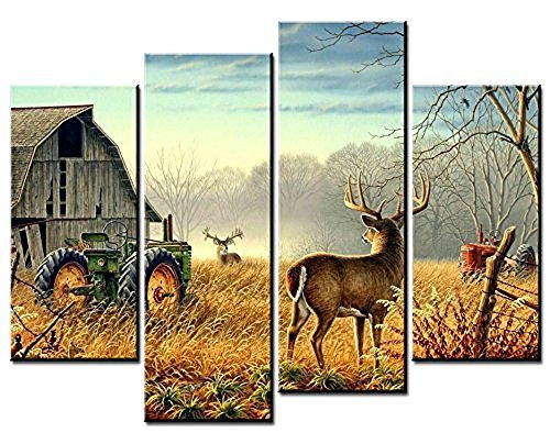 OYEO Canvas Art - 4 sets pictures of Nature Trees Fences Birds Fog Mist Deer Barn Farm Competition Paintings The Picture For Living Room Decoration City Pictures Photo Prints On - Canvas Fence