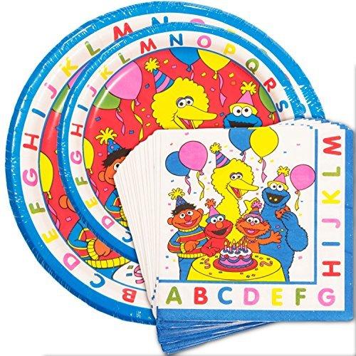 [Sesame Street Party Supplies Super Set (8 Plates, 8 Desert Plates, 16 Napkins)] (Sesame Street Birthday Party Supplies)