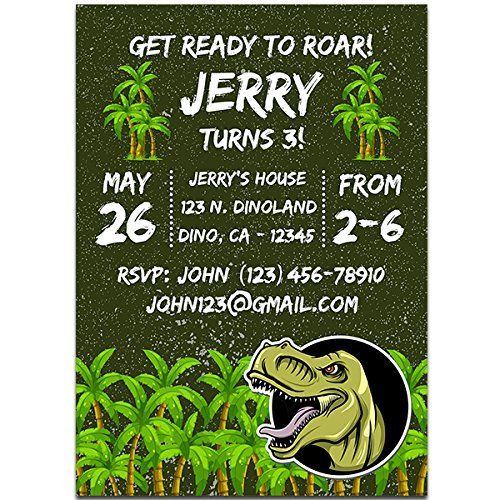 Green T REX Dinosaur Birthday Party Invitations