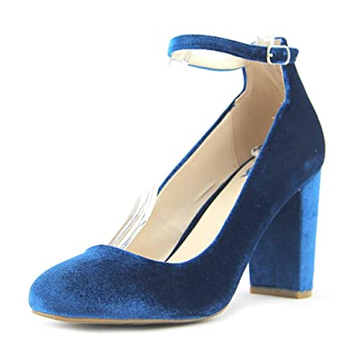 388ca5dd351 Fergalicious Womens Daisy Block-Heel Pumps Shoes Blue Velvet 9 M US