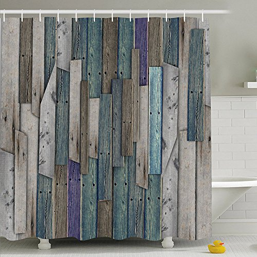 Amazon Com Shower Curtain 1 Piece Retro Wood Door Printed