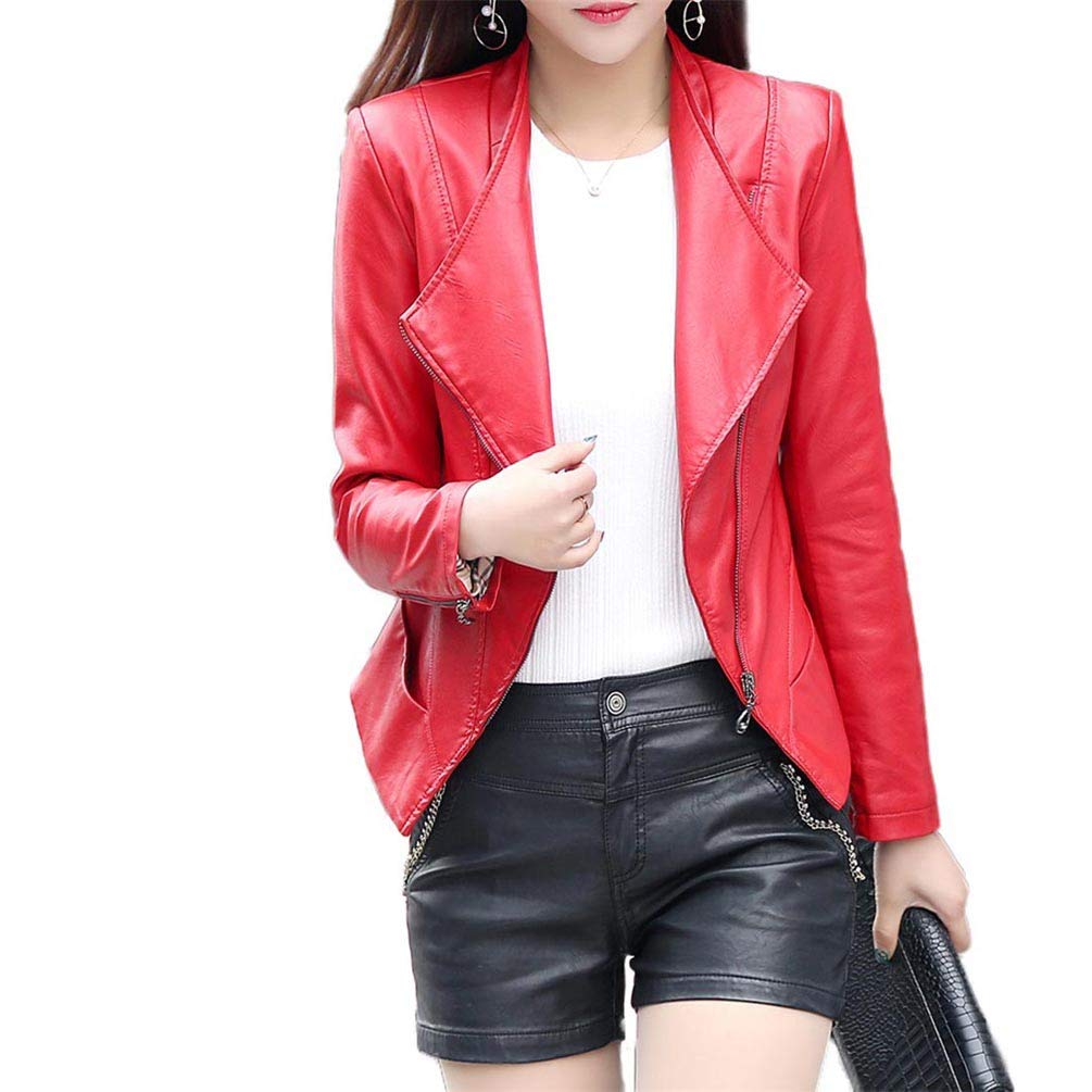 Qixuan Women Casual Long Sleeve Zipper Faux Leather Long Sleeves Jacket Outcoats ZH2704S0035