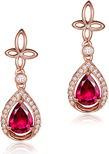 Valentine's Day Pear Red Ruby Drop Earrings Dangle Genuine Solid Pure Silver