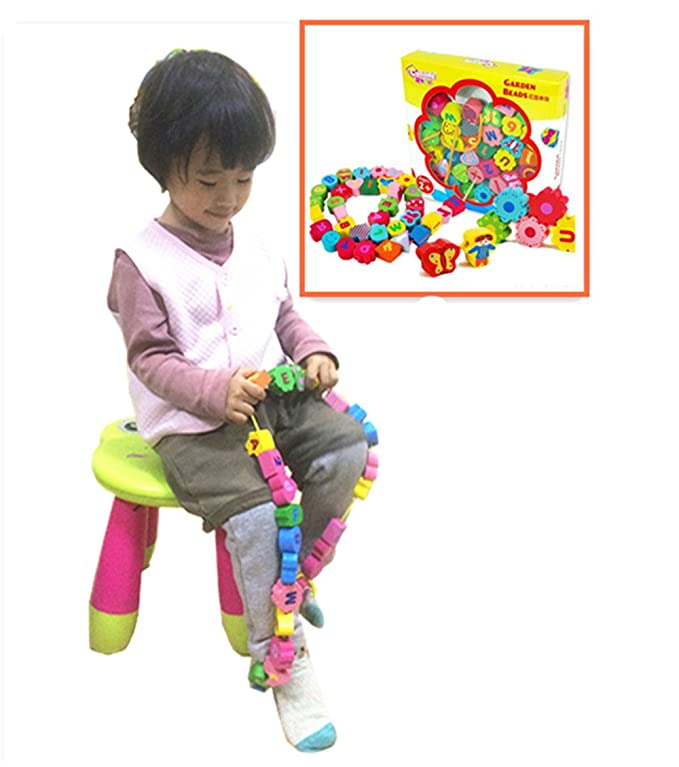 Vytung Wooden Lacing Pop Beads Toddlers String Lace Large Big